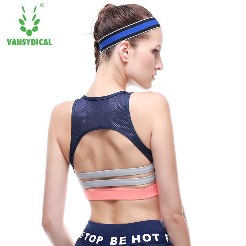 Sports Bra Women Mesh Fitness Tops Shockproof Yoga Bras Padded Workout Gym Bra Top Push Up Running Yoga Tank VANSYDICAL 2017