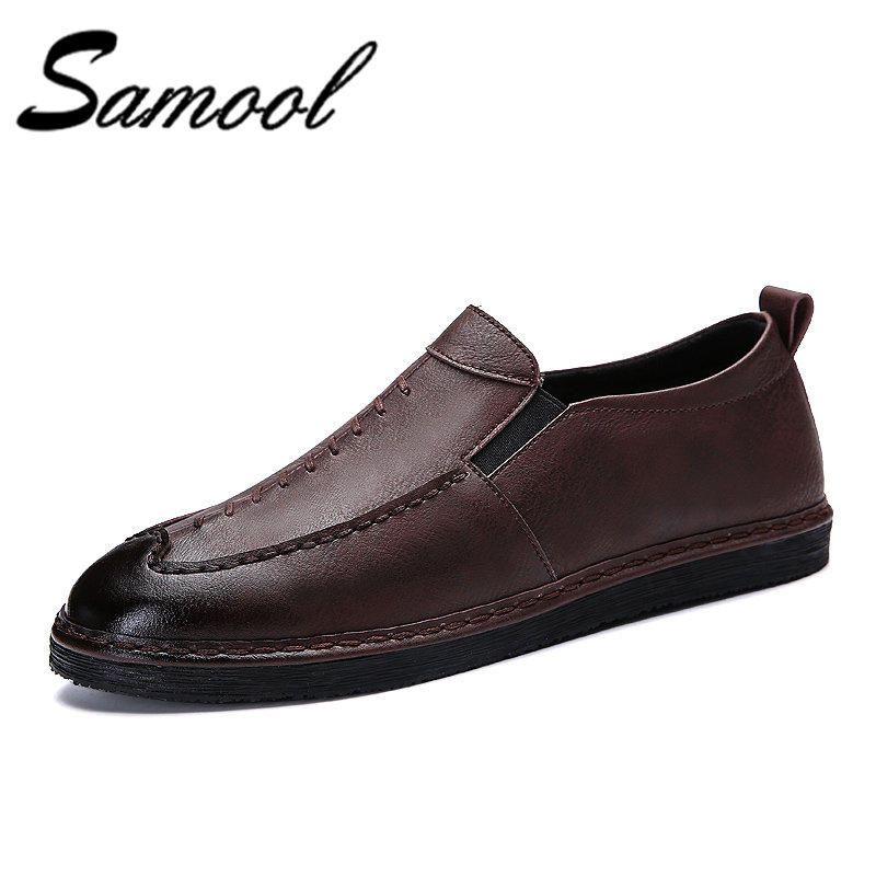 Samool Soft Leather Men Loafers Handmade Casual Shoes Men Driving  Moccasins For Men Comforable Leather Flat Shoes Slip On Xl5 mapleliz brand breathable slip on solid moccasins shoes for men full grain leather high quality driving soft flat men shoes