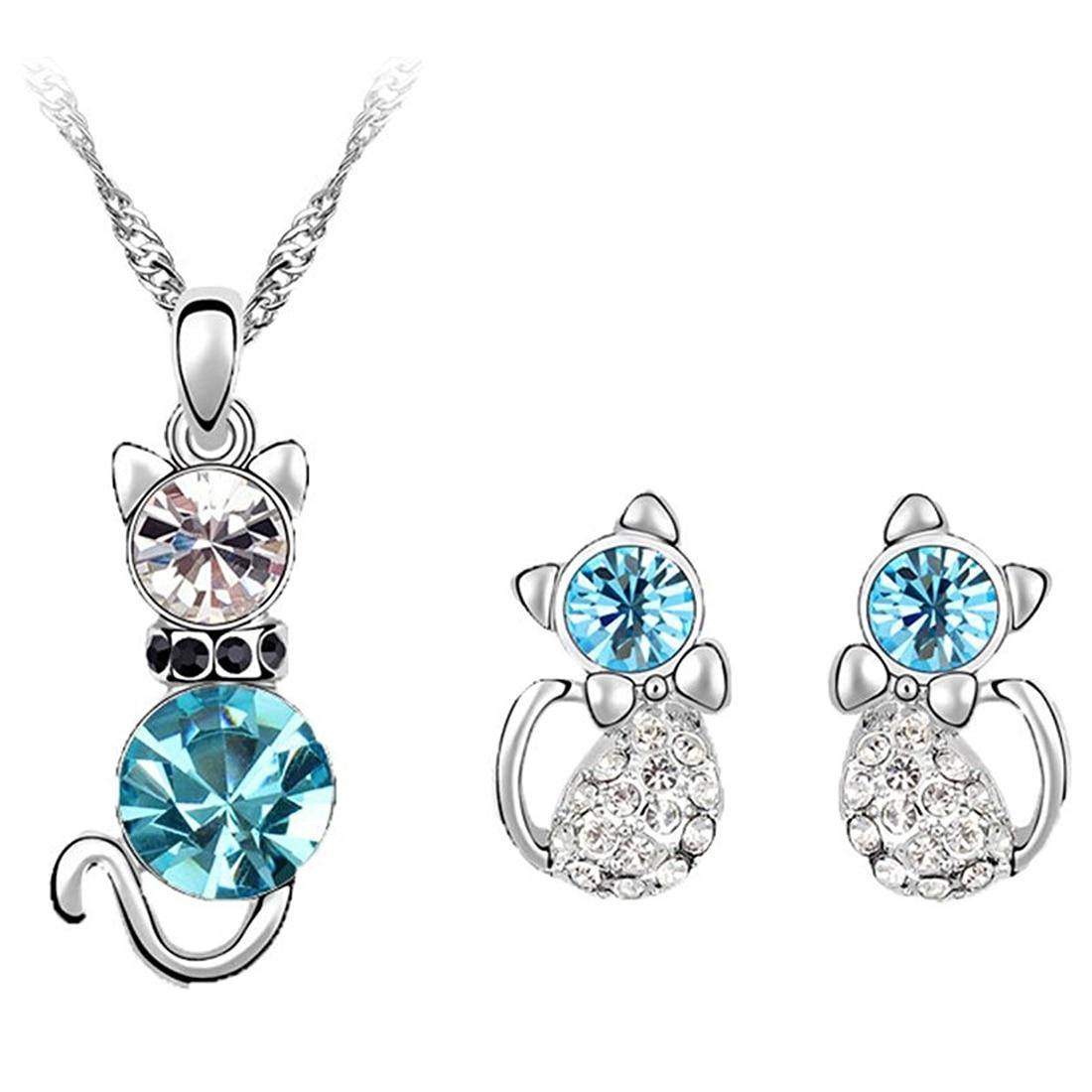 Women Fashion Rhinestone Cat Ear Stud Earrings Necklace Jewelry Set