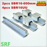 SBR16 Linear Guide Rail Set 2pcs SBR16 L 600mm Linear Shaft Rail Support 4pcs SBR16UU Linear