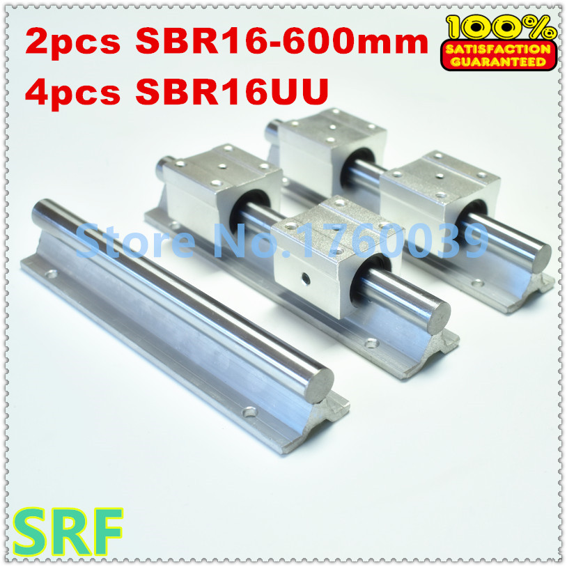 SBR16 linear guide rail set:2pcs SBR16 L=600mm linear shaft rail support+ 4pcs SBR16UU Linear Motion Bearing Blocks for CNC 2pcs sbr16 l 500mm linear shaft rail support with 4pcs sbr16uu linear motion auminum bearing sliding block for router part