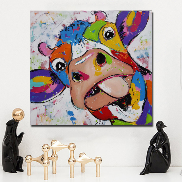 Modern Abstract Canvas Wall Art Picture Colorful Cow Animal Canvas ...