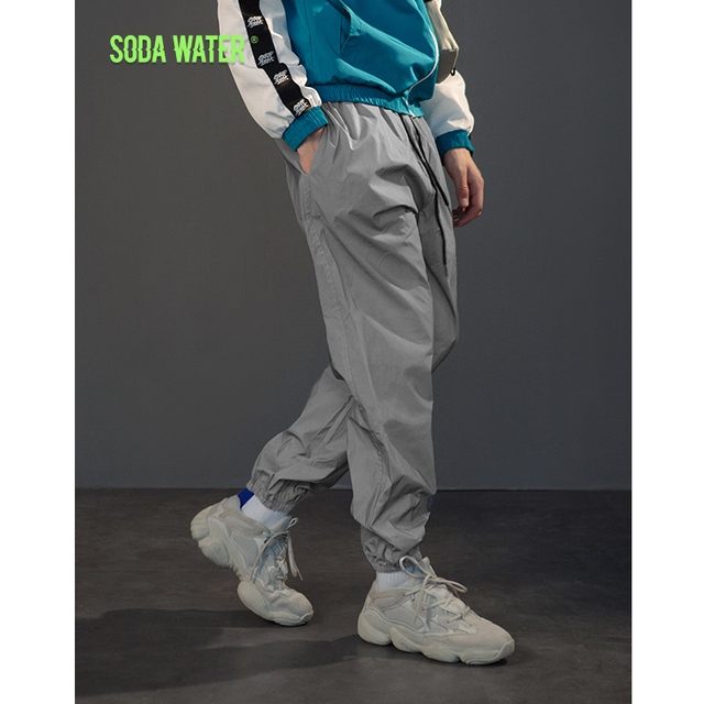 discount sale choose newest shoes for cheap US $53.85 |SODA WATER Reflective Jogger Pants Hip hop Elastic Wasit Trendy  Sweatpants Trousers Mens Tactical Pants Brand Clothing 8907WS-in Sweatpants  ...