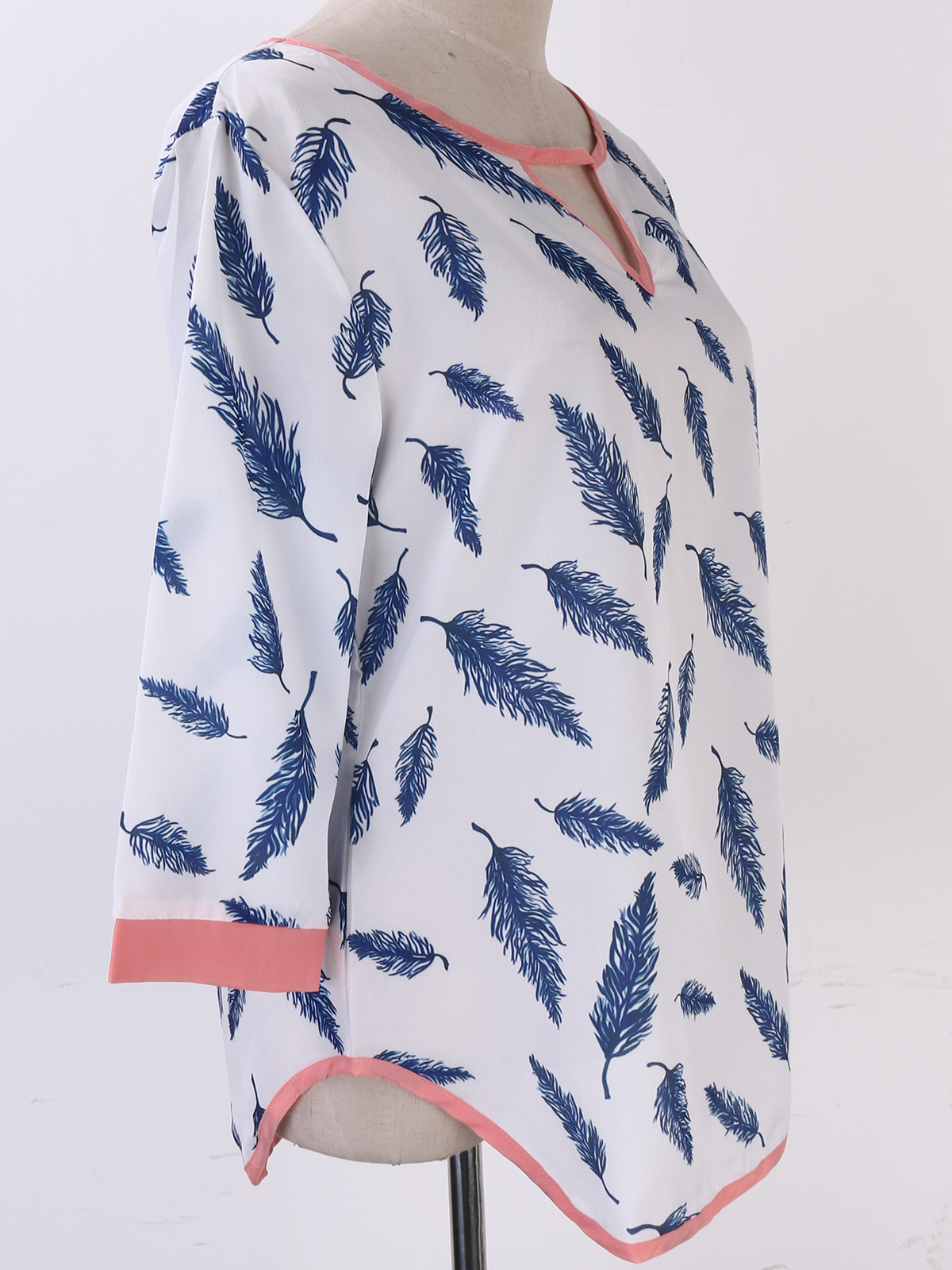 NEW Womens Blouse New Chiffon three quarter Sleeve Ladies Top shirt Loose Short Tops