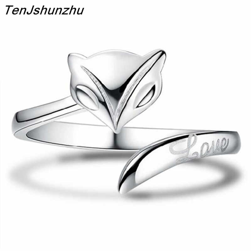 Free Shipping Silver Fox Rings For Women Jewelry Beautiful Finger Open Rings For Party Birthday Gift JZ006