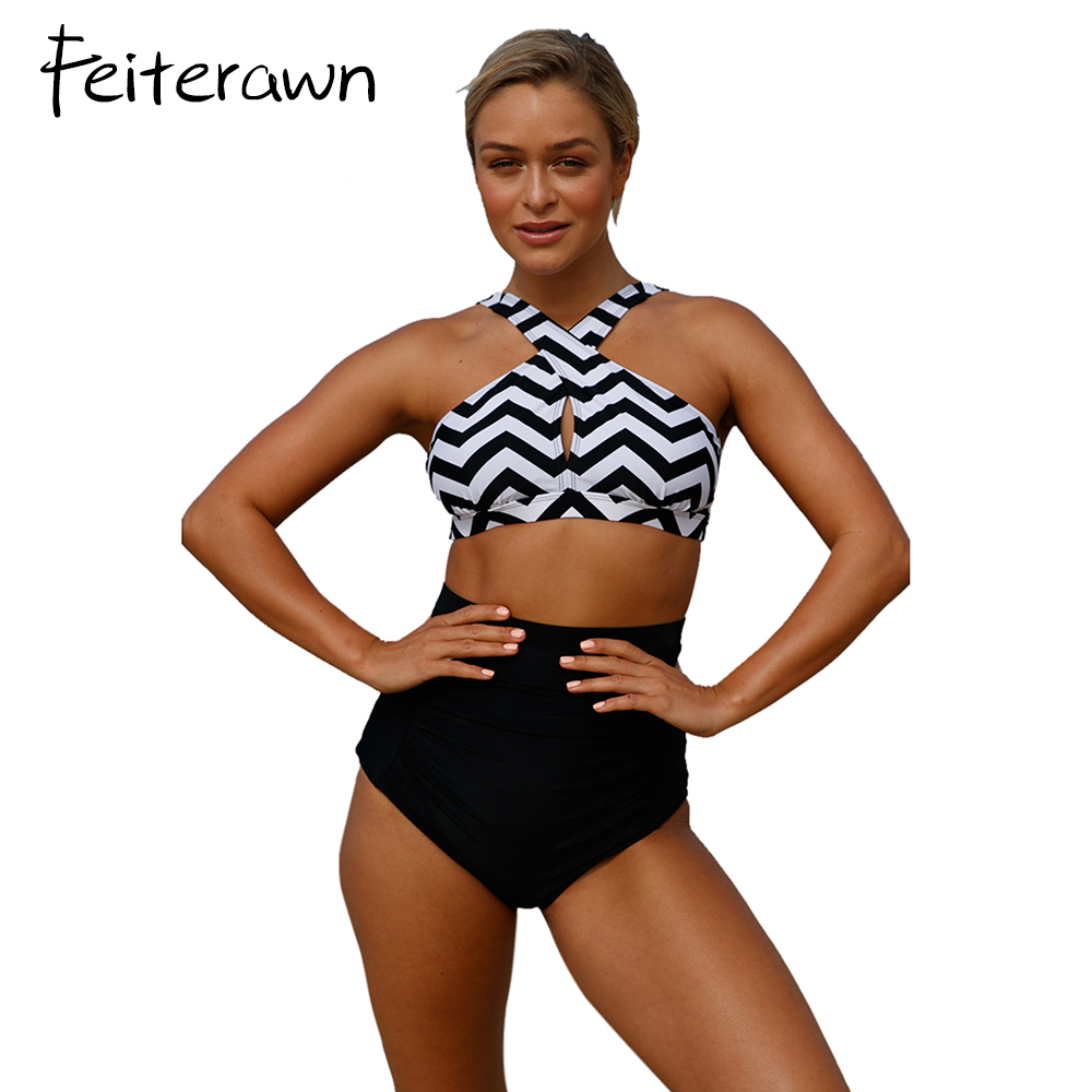 Feiterawn 2017 new sexy Orange Cross Front Bikini Vintage Floral High Waist Swimsuit women Push Up swimwear bathing suit D410258