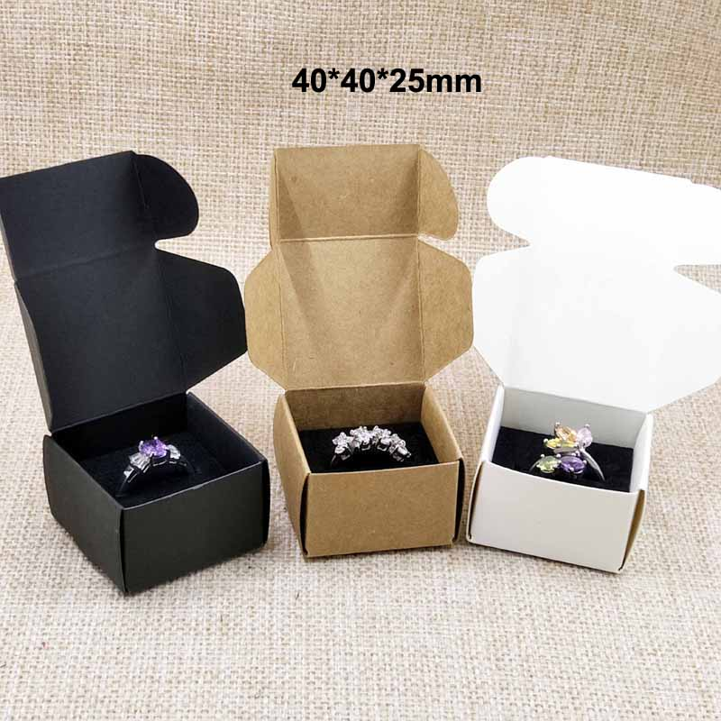 50pcs Per Lot 40*40*25mm White/black/kraft Ring Packing Box With Black Velvet Sponage Inside Custom Logo Moq 1000pcs