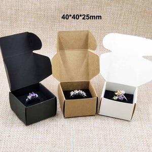 50pcs per lot 40*40*25mm white/black/kraft ring packing box with black velvet sponage inside custom logo moq 1000pcs(China)
