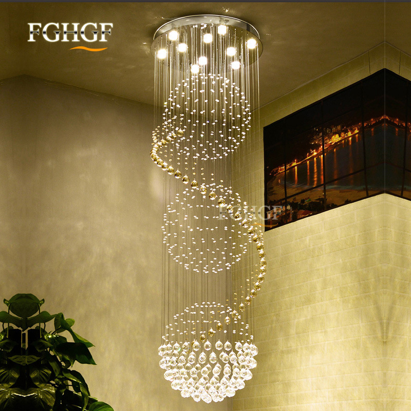 Modern Long Spiral Living Crystal Chandeliers Lighting Lustres Fixture for Staircase Stair Lamp Showcase Bedroom Hotel Hall (6)