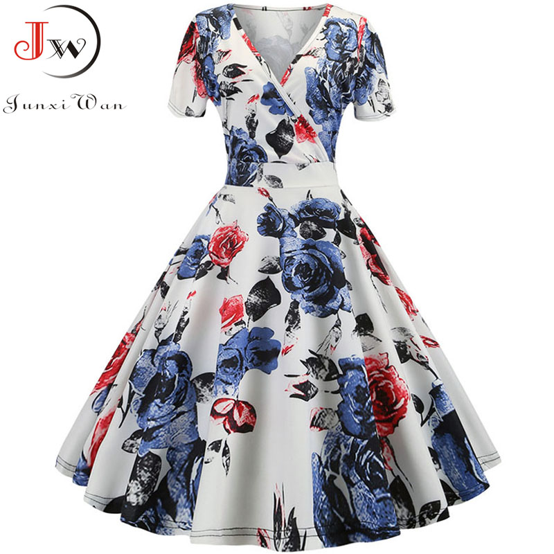 Elegant Vintage Summer Dress Women 2019 Short Sleeve V-Neck Casual A-Line Midi Dress Robe Femme Rockabilly Vestidos Plus Size