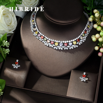 HIBRIDE High Quality Multi-color Zirconia Wedding Jewelry Set Heart Shape  Bridal Necklace and Earring ensemble de bijoux N-1037