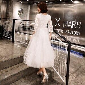 Image 3 - Elegant Simple Lace Long sleeved White Evening Dress Female 2019 New  Costume  Formal Dresses Evening Gown Vestido De vestido