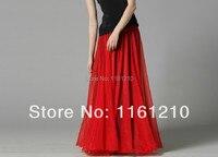 Red Chiffon saia de Chiffon de seda tamanhos leve vestido de praia saia