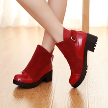 Plus size shoes 26-62 Nice Fashion Women's martin Boots Short Ankle Boot thick heeled patchwork female autumn boots
