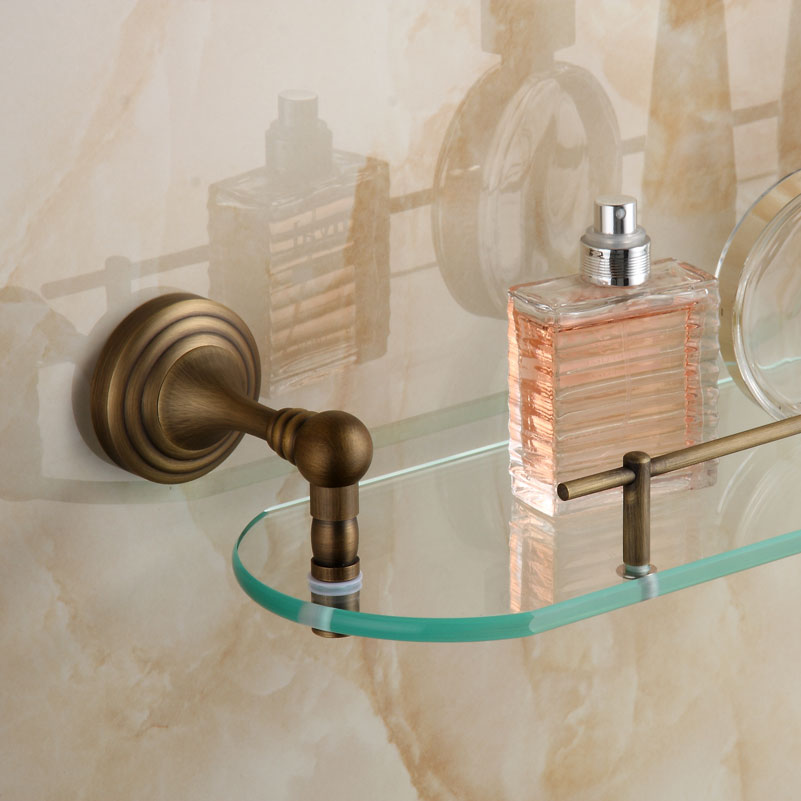 Luxury copper single bathroom shelf glass shelf antique - Bathroom accessories glass shelf ...