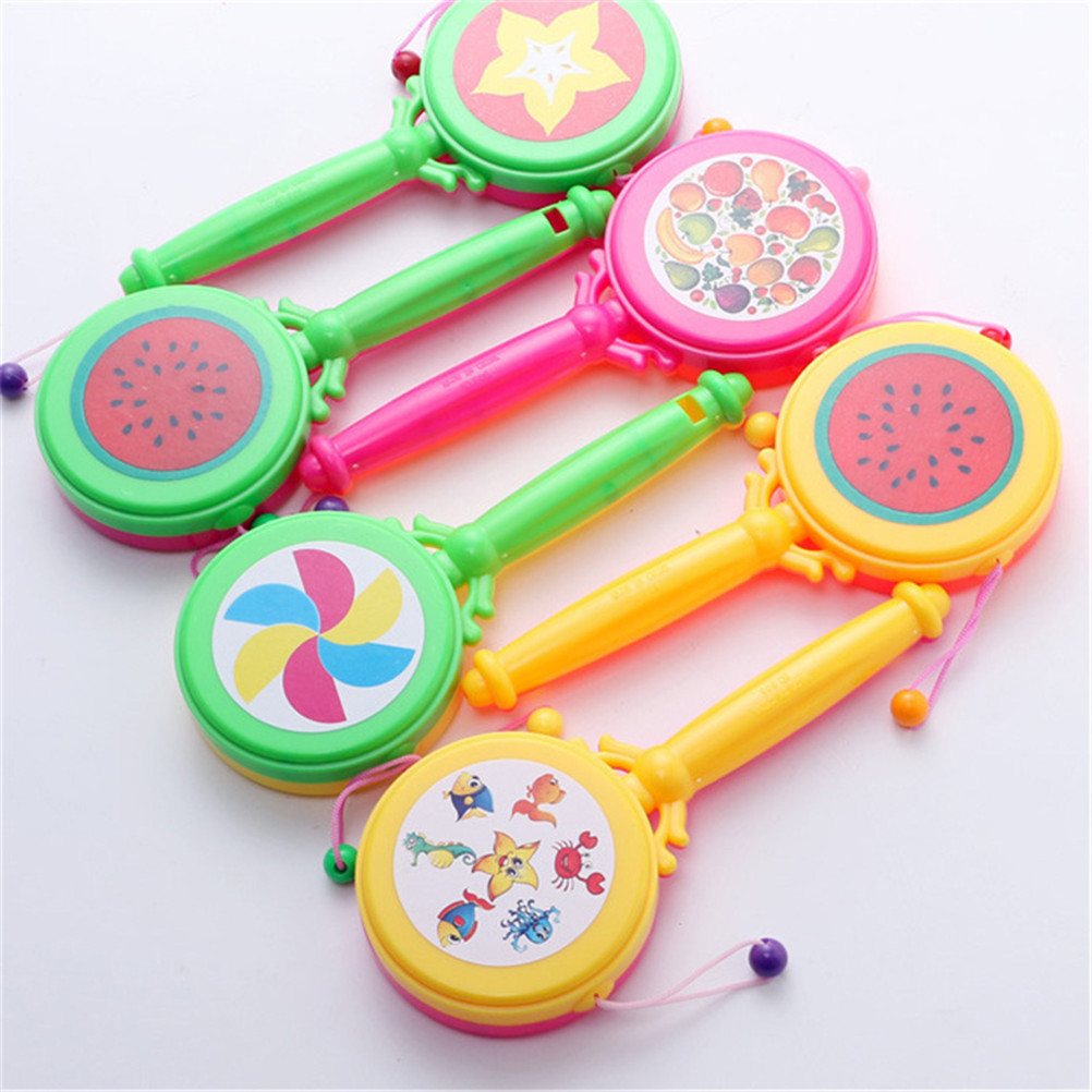 Color Random Cartoon Plastic Rattle Pellet Drum Cartoon Musical Instrument Toy For Child Kids Gift Toys Baby Boys Girls Drum Toy