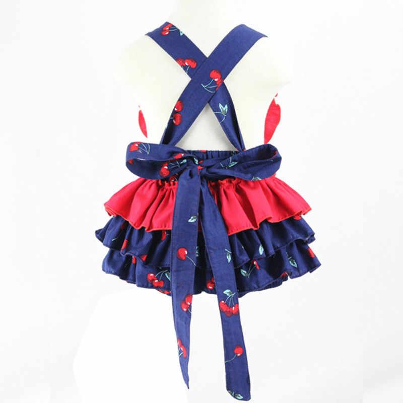 2016 летние детские комбинезоны с принтом вишни и фруктов, комбинезон для девочек, одежда для маленьких девочек, одежда для новорожденных, детские платья