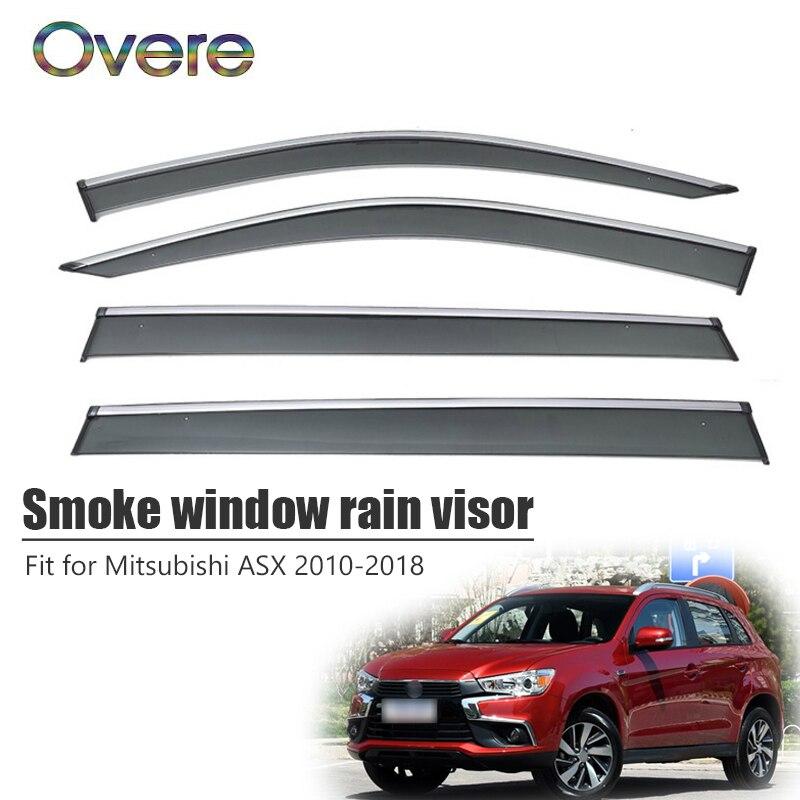 Overe 4Pcs 1Set Smoke Window Rain Visor For Mitsubishi ASX 2010 2011 2012 2013 2014 2015