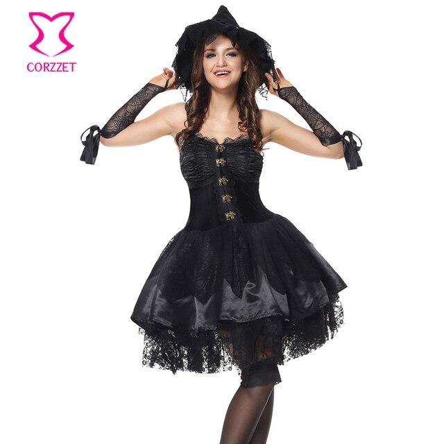 50cc26a0e € 28.89 43% de DESCUENTO|Negro mágico momento mal Elf carnaval corsé  vestido Cosplay gótico mala bruja traje adulto mujeres Halloween Disfraces  ...