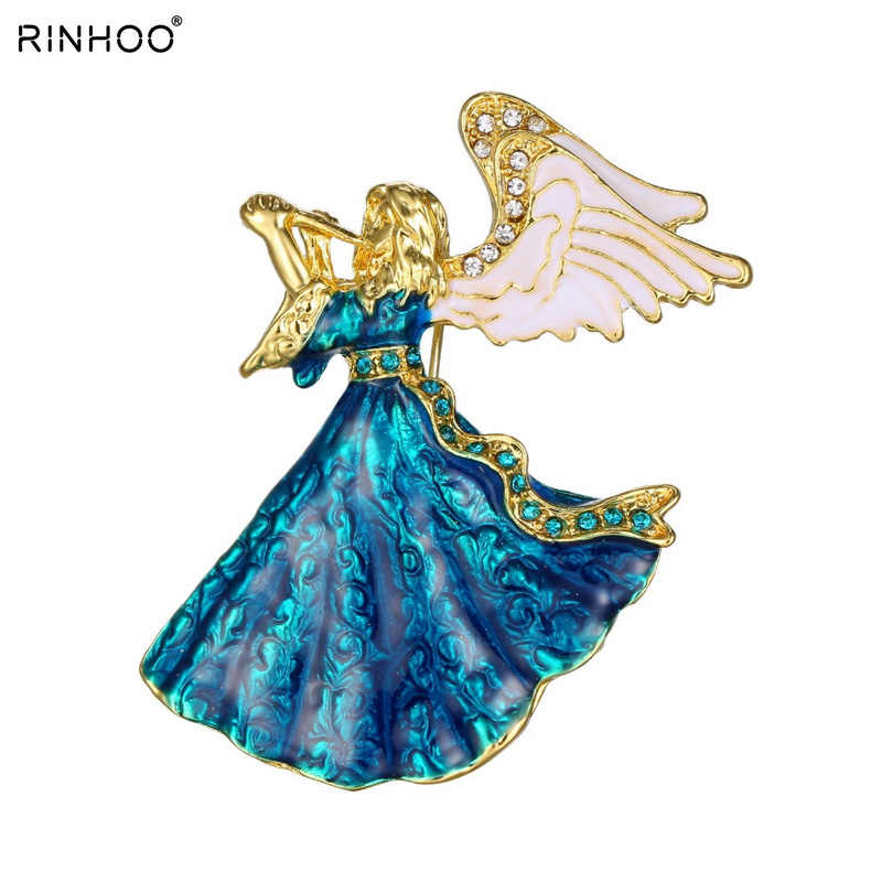 2018 Clássico Da Música anjo De Fadas Esterlina Jóias De Ouro pinos broche broches de cristal para as mulheres vestido da menina de Acessórios Para O Melhor Presente