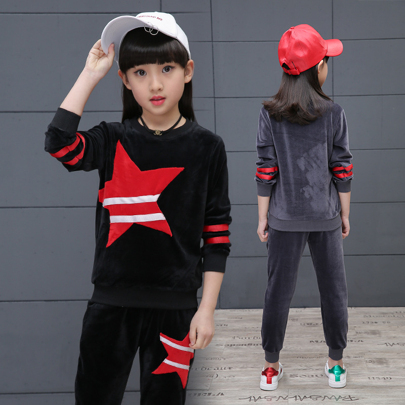 цены 2018 Baby Girls Set Autumn Teenage Girls Sets Clothing Velvet Kids Girl Sport Suit Set 2pcs Child Girl Clothes Pullover&Pants