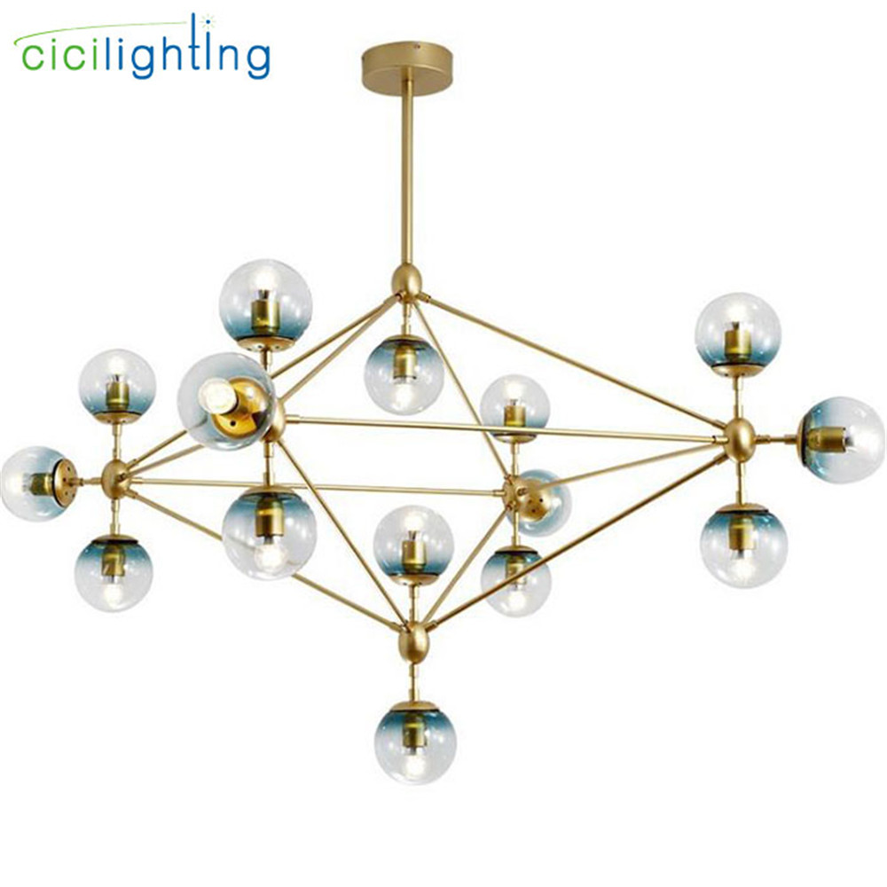 Hanging Lamp Us 165 Industrial Gold Led Pendant Lights Blue Fading Decor Glass Shade Pendant Lamp Metal Glass Plafond Hanging Lamp 10 15 21 Light In Pendant