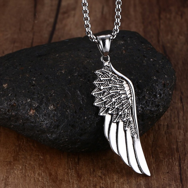 Men Choker Necklaces Stainless Steel Vintage Gothic Feather Angel Wing Pendants Necklace Silver Tone Kettingen Kolye Jewelry 24""