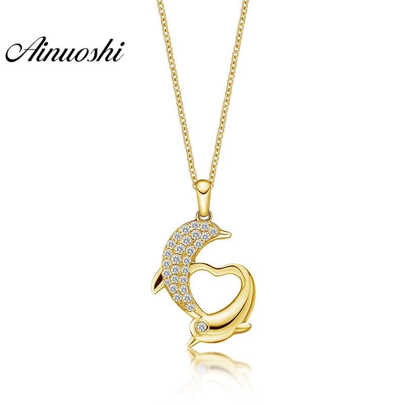 AINUOSHI 10K Solid Yellow Gold Pendant Heart Pendant SONA Diamond Women Men Jewelry Adorable Dolphin Shape 1.7g Separate Pendant
