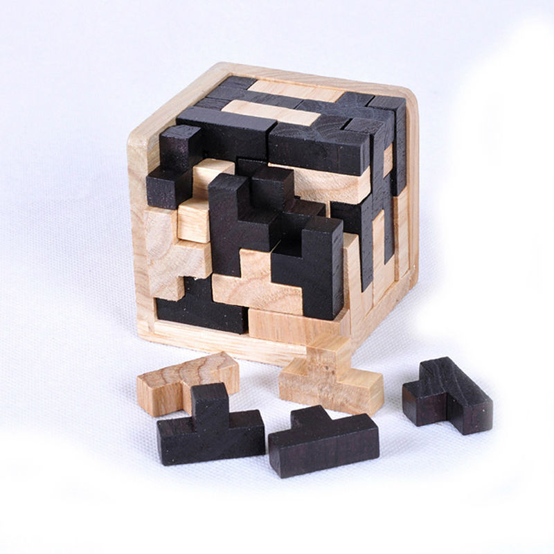 Educational Wood Puzzles IQ Brain Teaser 3D Wooden Interlocking Burr Puzzles Game Toy Small Size For Adults Kids