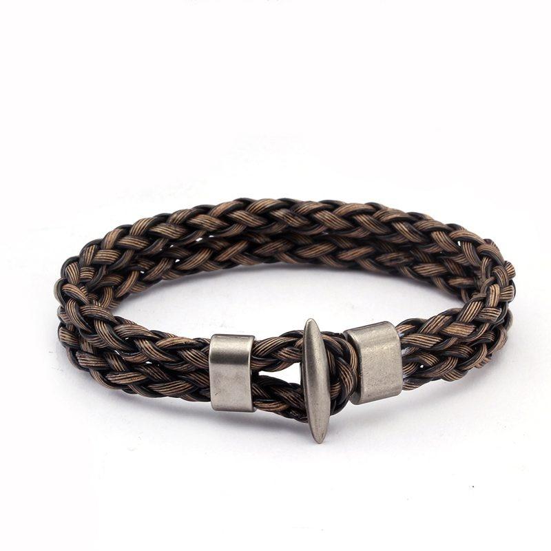 Vintage Braided Leather Charm Cuff Bracelets Men Male Sporty Jewelry Unique Handcuffs Chain Link Bracelets Bangles Браслет