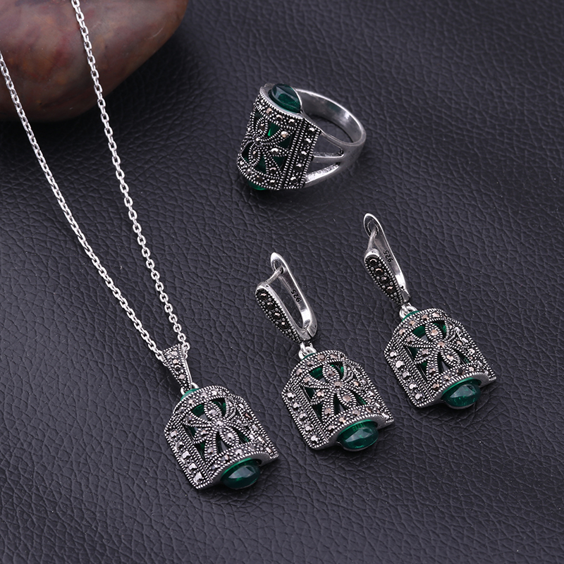 HTB1Nq5kbDjxK1Rjy0Fnq6yBaFXaI - Sellsets Jewellery Design Black Rhinestone And Green Resin Pendant Necklace Set Antique Silver Color Vintage Jewelry Sets