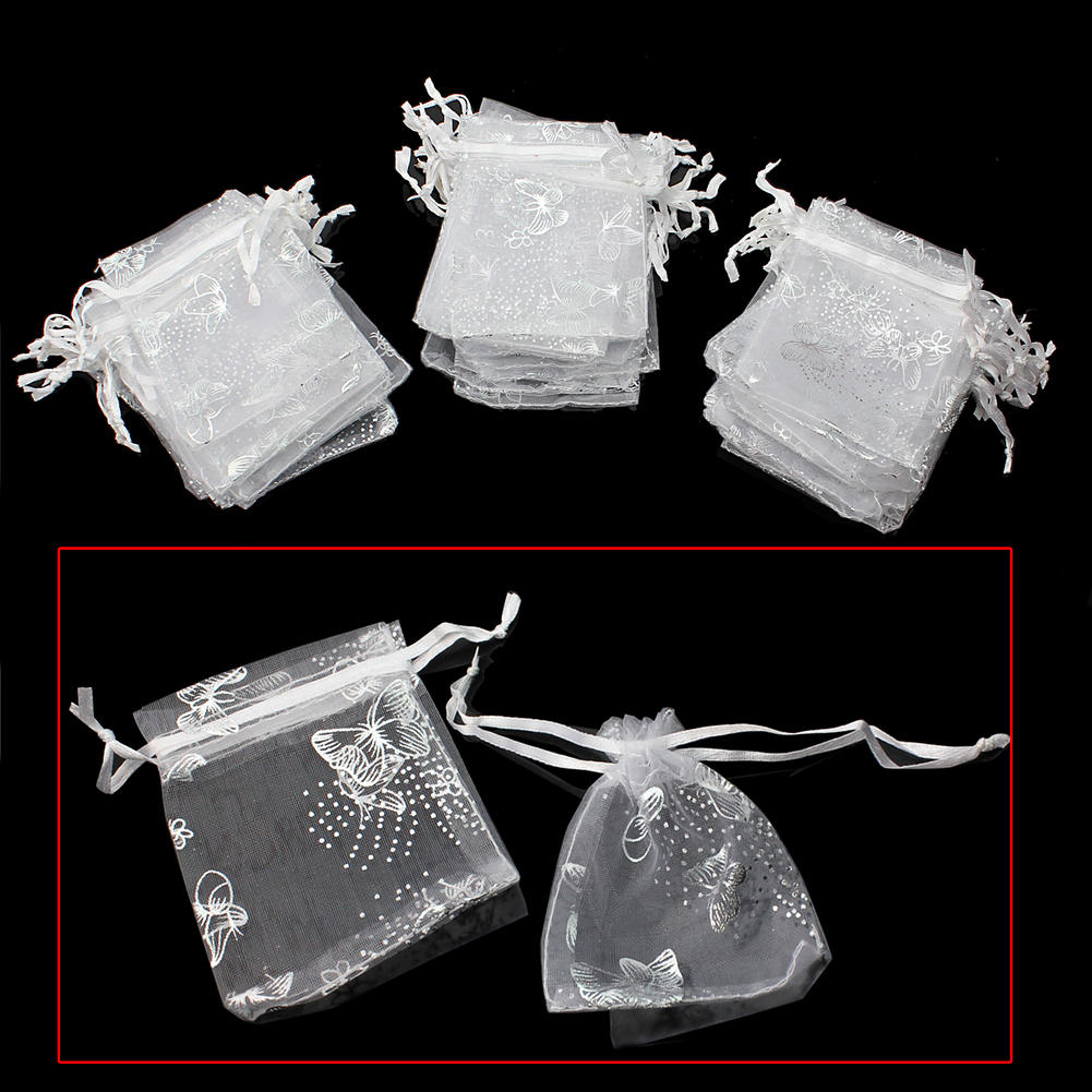 50pcs Super Organza Bag Wedding Party Candy Jewelry Gift White Butterfly Decor Pouch Bags Jewelry Accessories Storage Bag