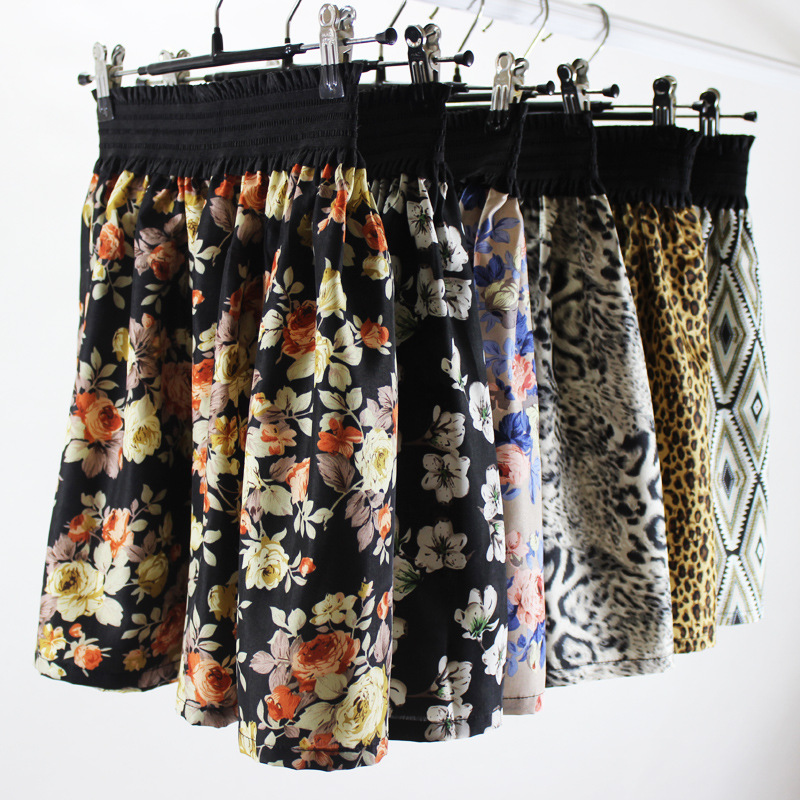 Jaderic 2018 new fashion 1 Pc Women Summer skirt one size Vintage Mini Chiffon Print Pleated High Waist Skirts Short Skirt