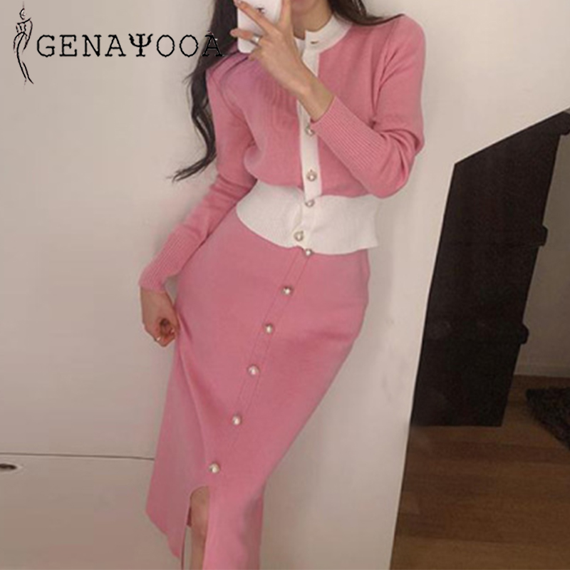 Genayooa Womens Two Piece Sets 2019 Fashion Clothing For Women Knitted Two Piece Suit Sets Cardigan Female Bodycon Split Skirt
