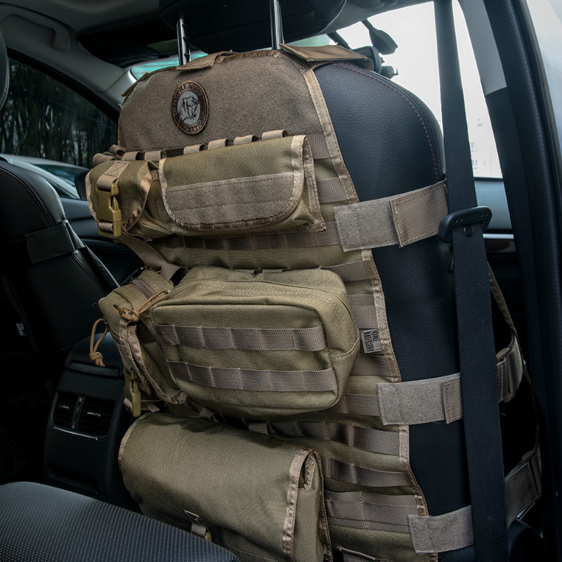 OneTigris Tactical Molle 1000D Nylon Car Seat Covers With 6 Pouches for Front Seat Chair Fits All Cars Jeep CJ YJ TJ LJ WRANGLER