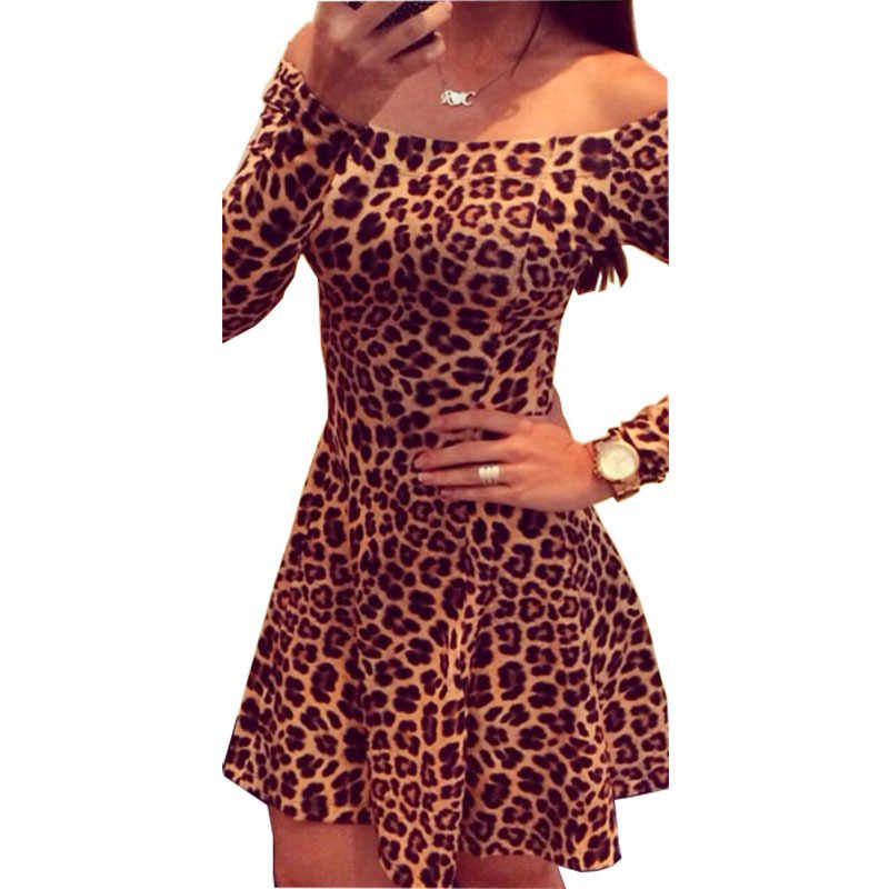 Women Summer Dress 2019 Hot Sale Leopard Print Slit Neckline Sexy Strapless  Pleated Dresses women s Clothing d3bee4d6b