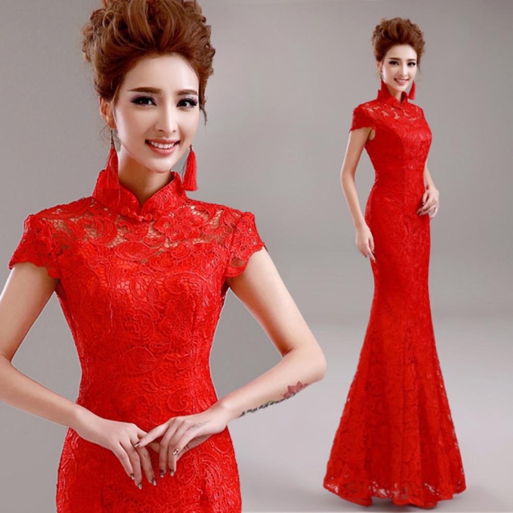 f1f98e96b Vintage Vestido de Noche Largo Rojo Vestido de Novia Sirena de Encaje  Vestidos de Noche Vestidos de Partido Vestido De Festa Cheongsam Qipao H833  en ...