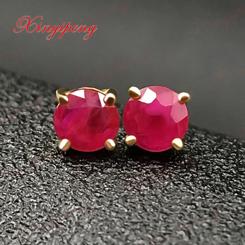 18 k yellow gold with 100% natural ruby studs earrings red color of fire Fine jewelry contracted