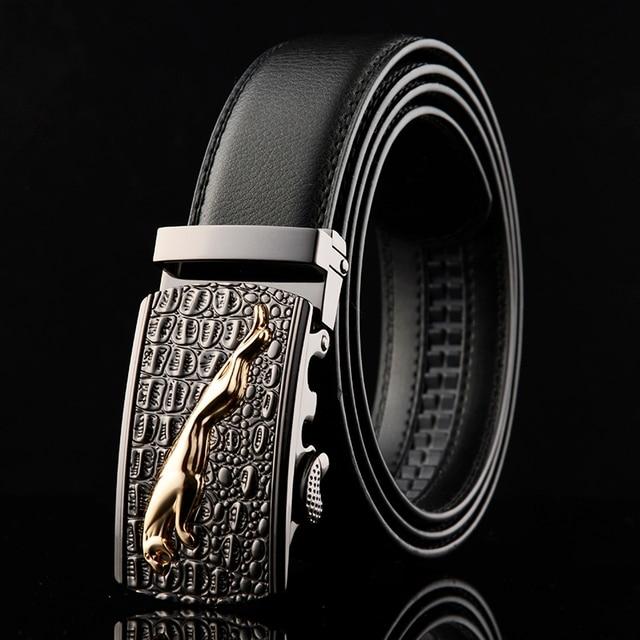 WOWTIGER Nouveau Designer Automatique Boucle En Cuir hommes ceinture  crocodile grain Jaguar Haute qualité alliage boucle f83ef23c79d