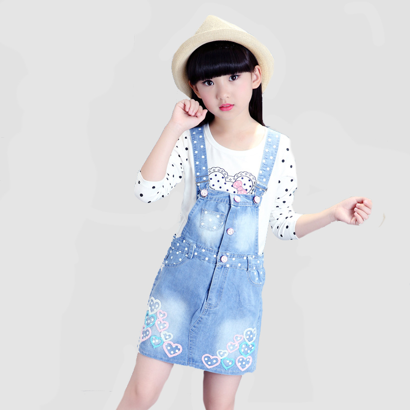 Girls Outfits Cotton Polka Dot T-Shirts & Denim Overalls 2Pcs Spring Children Clothing Sets For Girls Dress Kids Tees 4 8 10 12Y  2017 spring longsleeve cotton t shirts for girls clothing tops baby kids clothes lace bowknot korean style children girls tees
