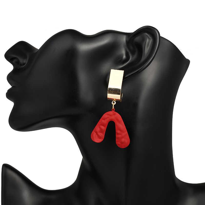 2019 New Korean Geometric Various colours Round Earrings Petal  irregular Metal Stud Earrings for Woman Girl Gift