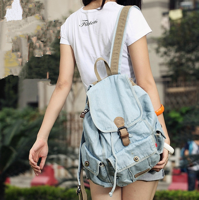 stacy bag hot sale good quality women fashion backpack lady casual denim bag girl leisure travel