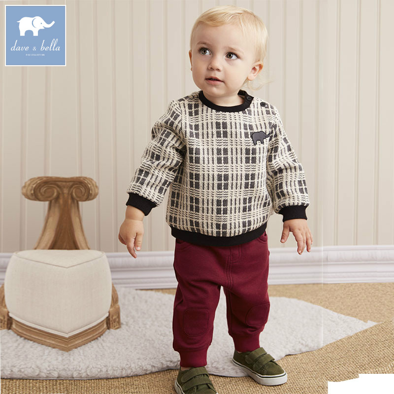 DB5596 dave bella autumn infant boys fashion clothing sets baby plaid suit children suit high toddler outfits Clothing Suits children s suit 2018 fashion england wind children s clothing autumn and winter boy plaid suit performance clothing