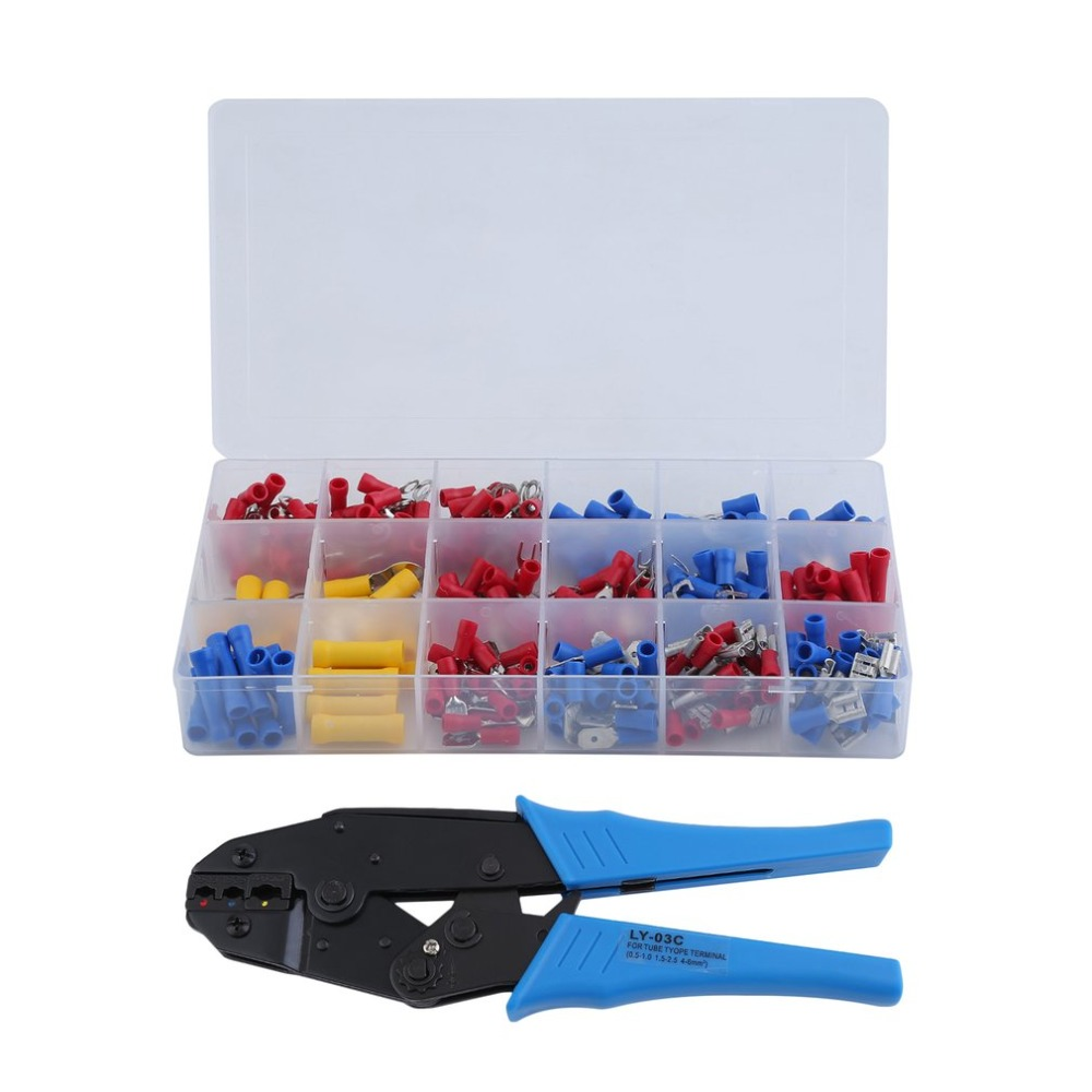 300Pcs Insulated Assorted Electrical Wire Terminals Plier Set Insulated Cable Crimp Connectors Spade Terminal Crimping Tool NEW 120pcs electrical wire crimp terminals assorted insulated cable connectors kit set 22 10awg with box
