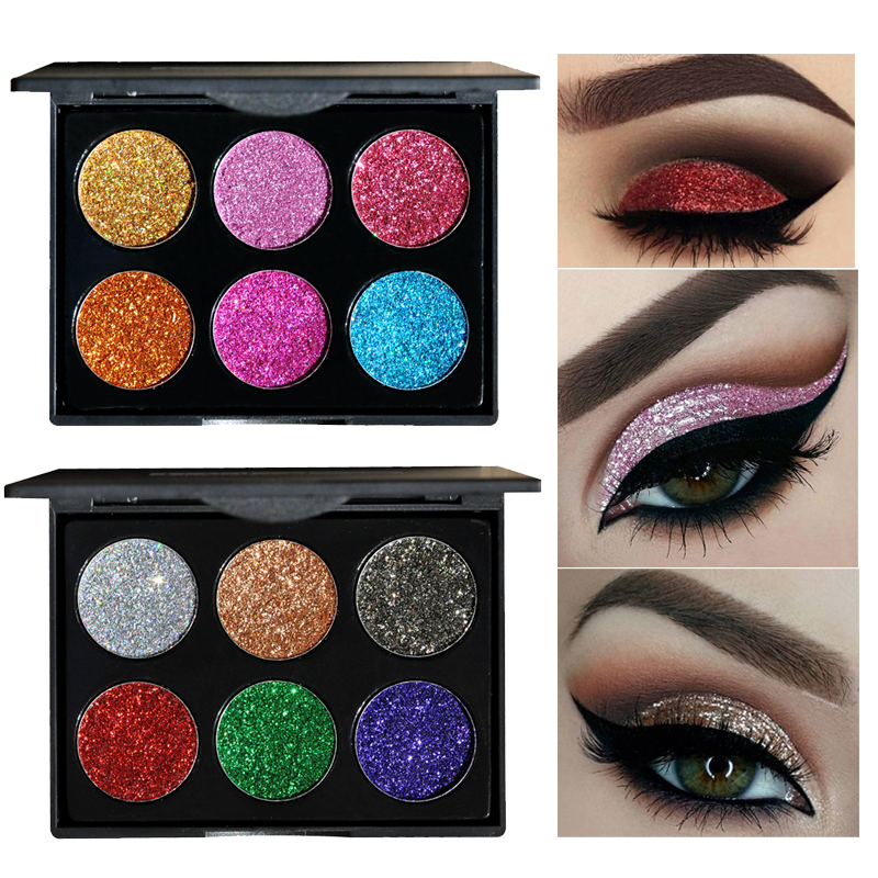 Beauty & Health Official Website 2017 Professional Eyeshadow Palette Glitter Makeup Waterproof Diamond Pigment Eyes 6 Color Gold White Purple Blue Eye Shadows