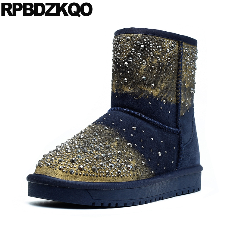 Round Toe Winter Snow Boots Women Ankle Metal Flat Shoes Warm Stud Fur Blue High Quality
