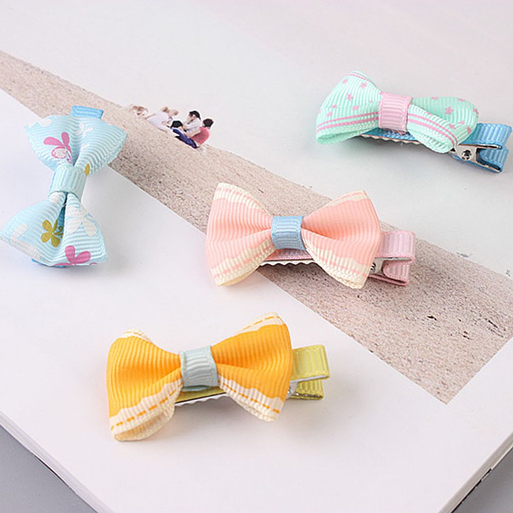 5pcs Color Random Dog Kitten Puppy Cute Pet Grooming Floral Solid Cotton Bow Flower Hairpins Butterfly Hair Clips Hair Barrette #3