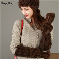 100%リアルミンクの毛皮の手袋で弾性ファッション女性高密度ニット暖かい手袋2017新しいユニセックスナチュラル毛皮の指なしミト