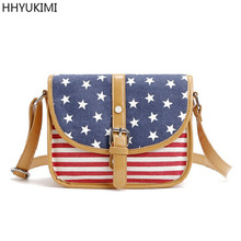 HHYUKIMI Brand Stars American Flag USA Fantasy Brief Diagonal Shoulder Bags Women Canvas Bag Clutch