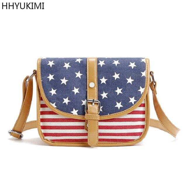 19a9c2f22348 HHYUKIMI Brand Stars American Flag USA Fantasy Brief Diagonal Shoulder Bags  Women Canvas Bag Clutch Ladies Designer Handbag